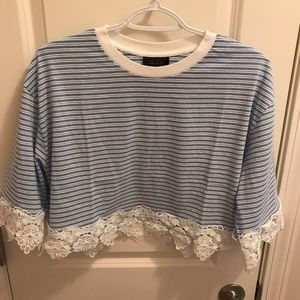 NWT Topshop Stripe Lace Hem Crop Shirt
